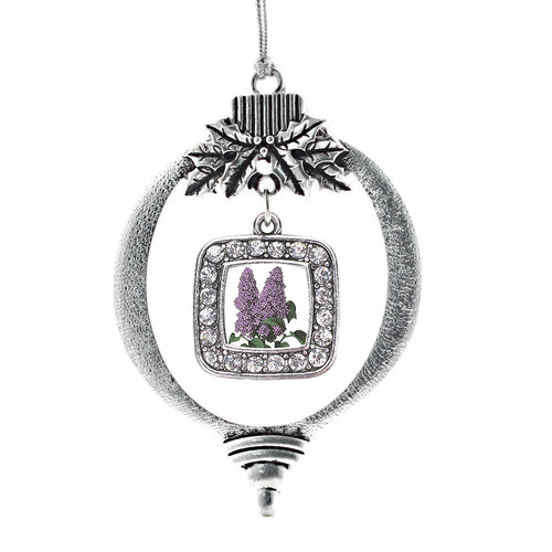 Lilac Flower Square Charm Christmas / Holiday Ornament