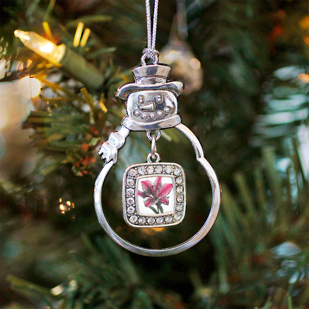 Lily Flower Square Charm Christmas / Holiday Ornament