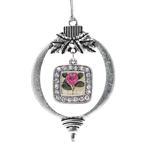 My Other Half Camellia Flower Square Charm Christmas / Holiday Ornament