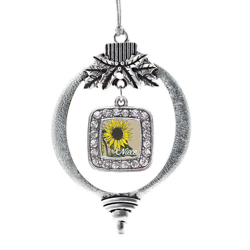 Niece Sunflower Square Charm Christmas / Holiday Ornament
