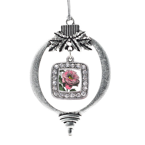 Peony Flower Square Charm Christmas / Holiday Ornament