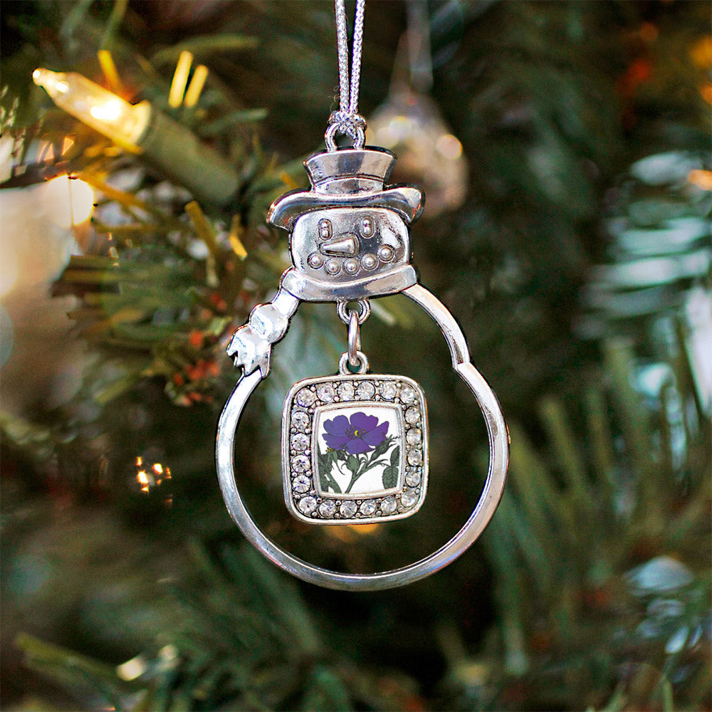 Violet Flower Square Charm Christmas / Holiday Ornament