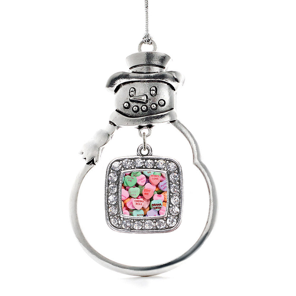 Candy Hearts Square Charm Christmas / Holiday Ornament