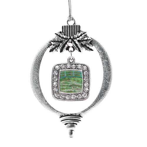 Monet Lily Pond Square Charm Christmas / Holiday Ornament