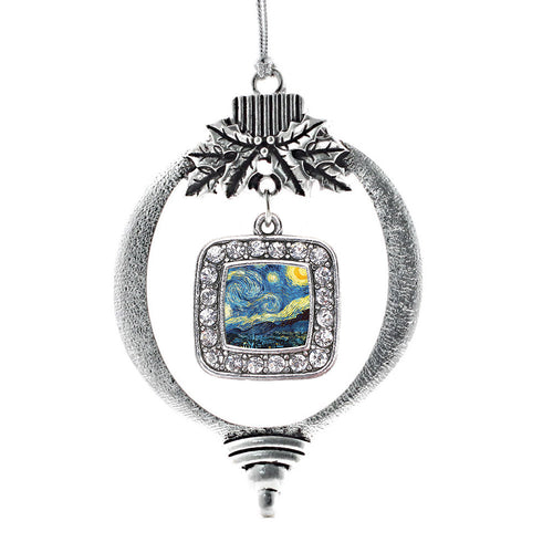 Starry Night Square Charm Christmas / Holiday Ornament