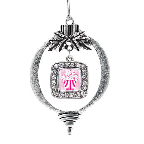 Pink Chevron Cupcake Square Charm Christmas / Holiday Ornament