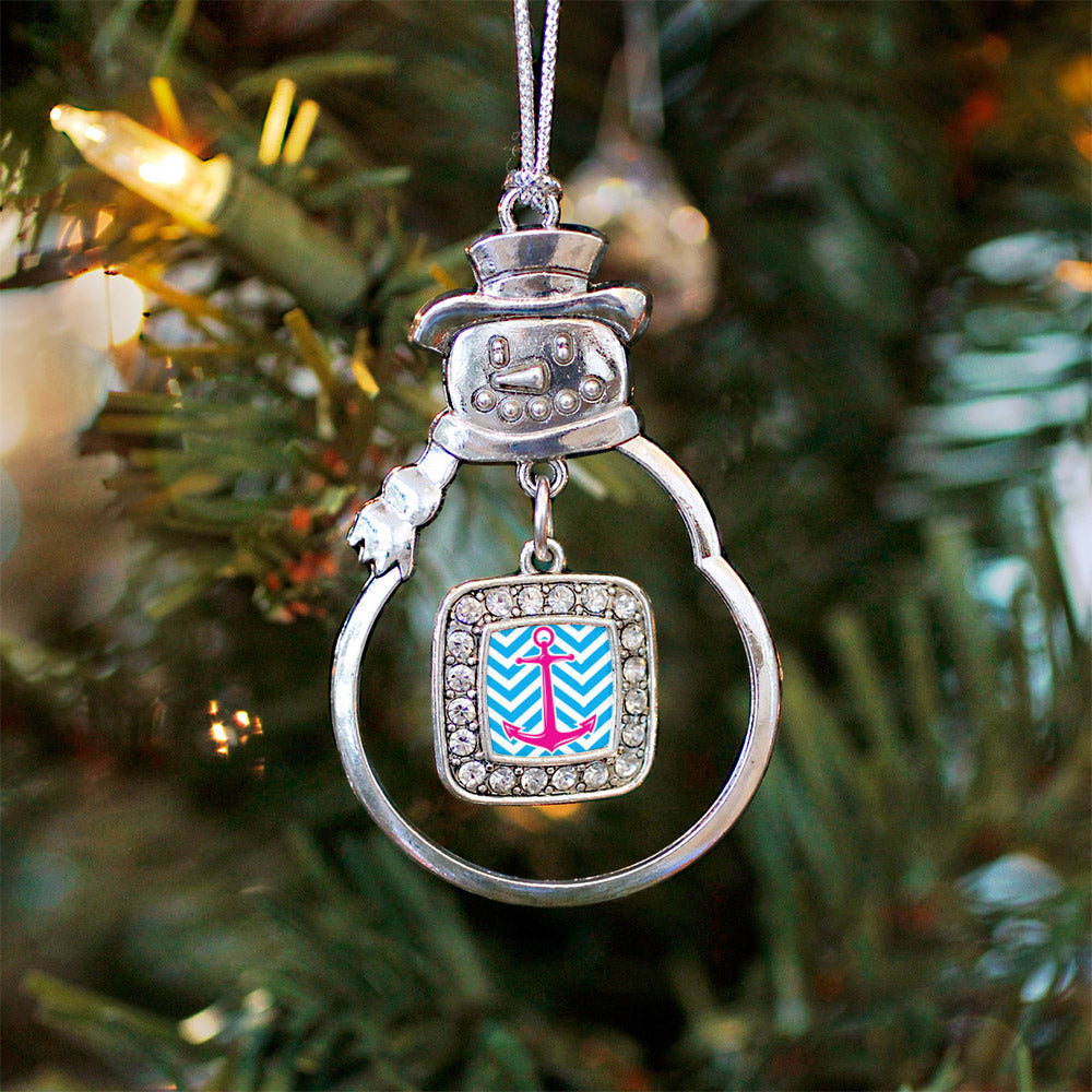 Blue Chevron Pink Anchor Square Charm Christmas / Holiday Ornament
