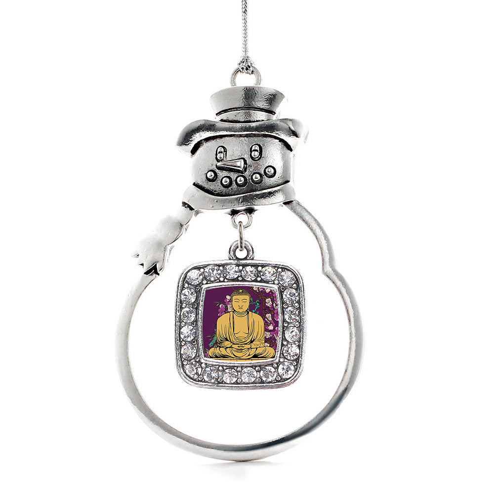 Buddha And Cherry Blossoms Square Charm Christmas / Holiday Ornament