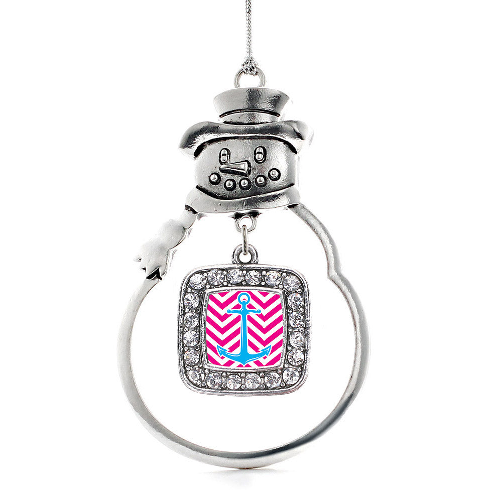Pink Chevron Blue Anchor Square Charm Christmas / Holiday Ornament