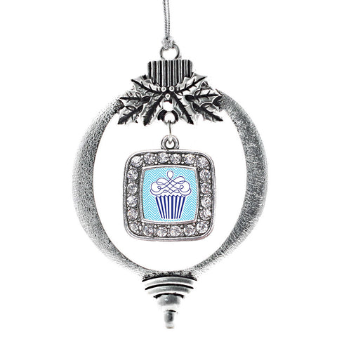 Blue Chevron Cupcake Square Charm Christmas / Holiday Ornament