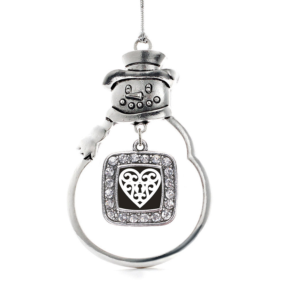 Heart Shaped Lock Square Charm Christmas / Holiday Ornament