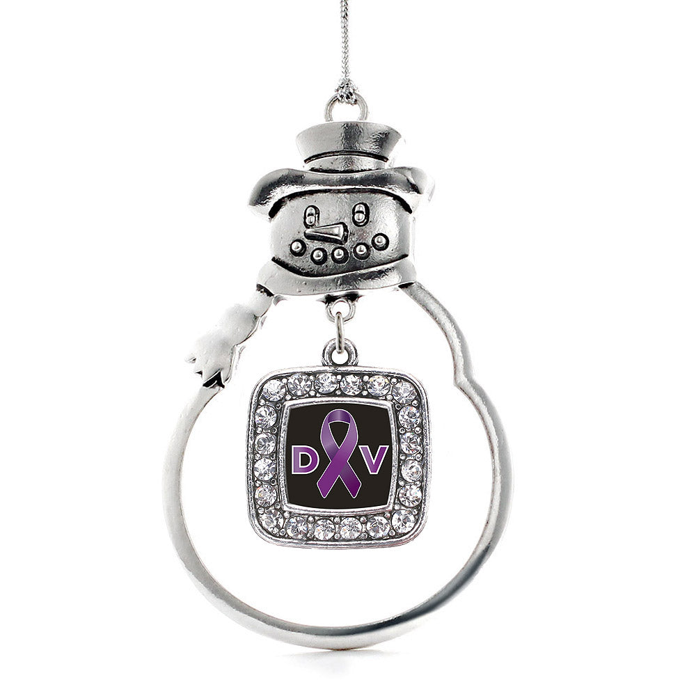 Domestic Violence Support Square Charm Christmas / Holiday Ornament