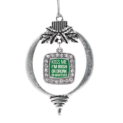 Kiss Me I'm Drunk Square Charm Christmas / Holiday Ornament
