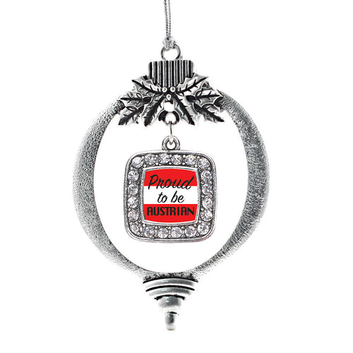 Proud to be Austrian Square Charm Christmas / Holiday Ornament