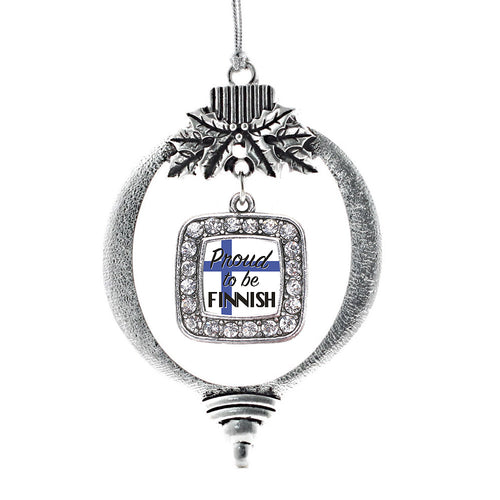 Proud to be Finnish Square Charm Christmas / Holiday Ornament