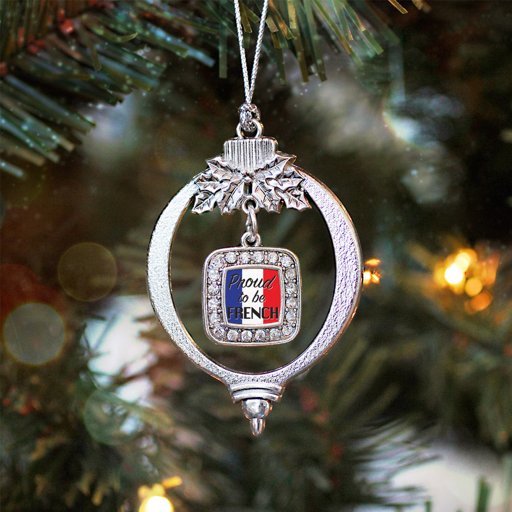 Proud to be French Square Charm Christmas / Holiday Ornament