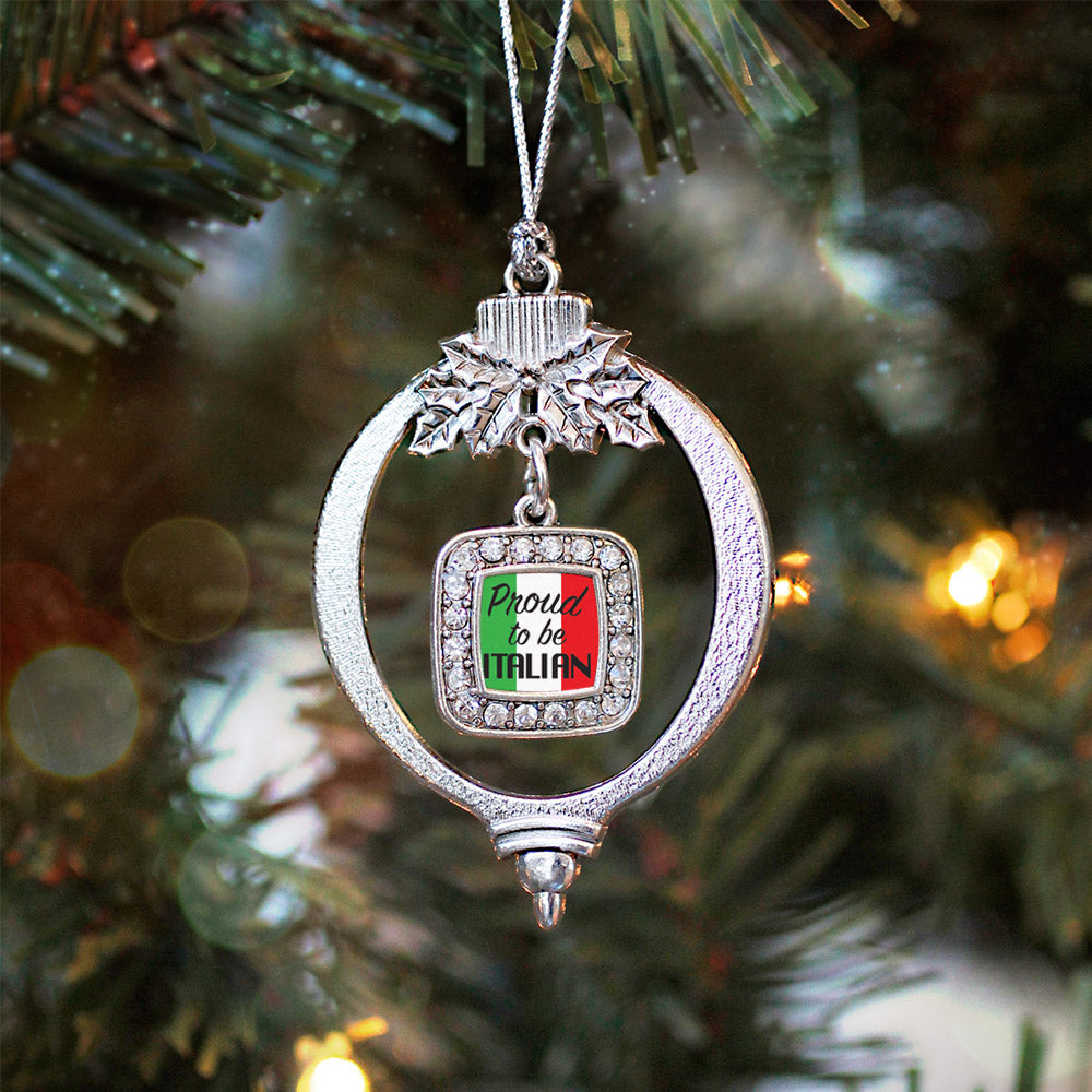 Proud to be Italian Square Charm Christmas / Holiday Ornament