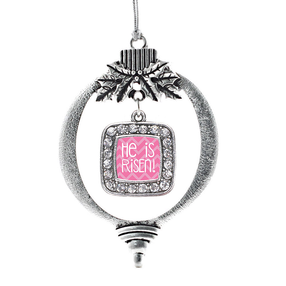 He is Risen Pink Chevron Patterned Square Charm Christmas / Holiday Ornament