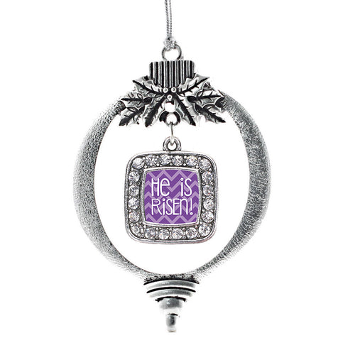 He is Risen Purple Chevron Patterned Square Charm Christmas / Holiday Ornament