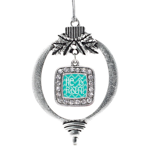 He is Risen Teal Chevron Patterned Square Charm Christmas / Holiday Ornament