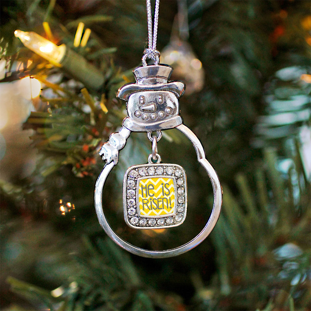 He is Risen Yellow Chevron Patterned Square Charm Christmas / Holiday Ornament