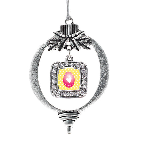 Pink Easter Egg Square Charm Christmas / Holiday Ornament