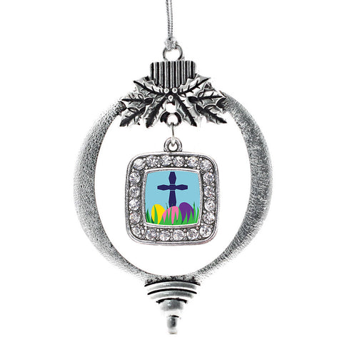 Easter Cross & Eggs Square Charm Christmas / Holiday Ornament