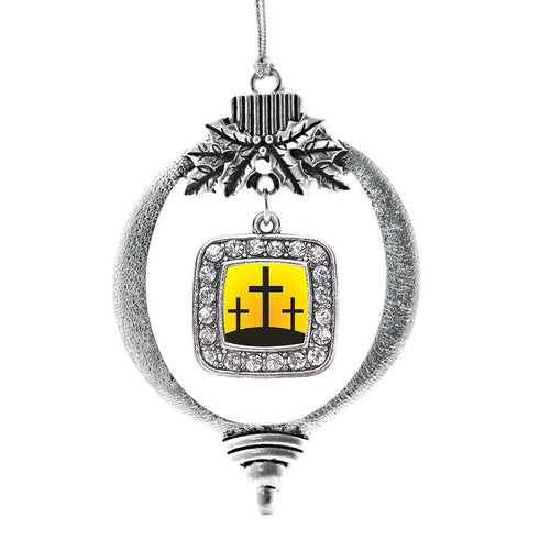 Three Crosses Square Charm Christmas / Holiday Ornament
