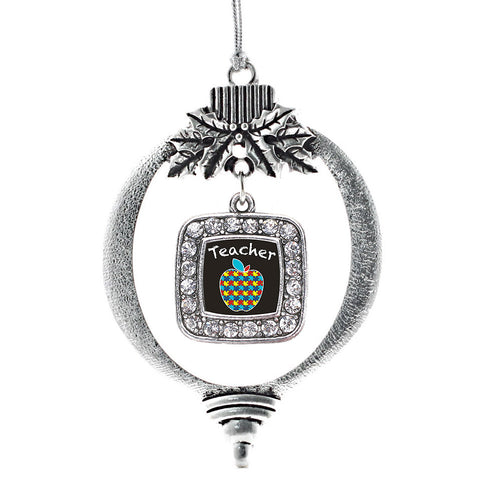 Autism Apple Square Charm Christmas / Holiday Ornament