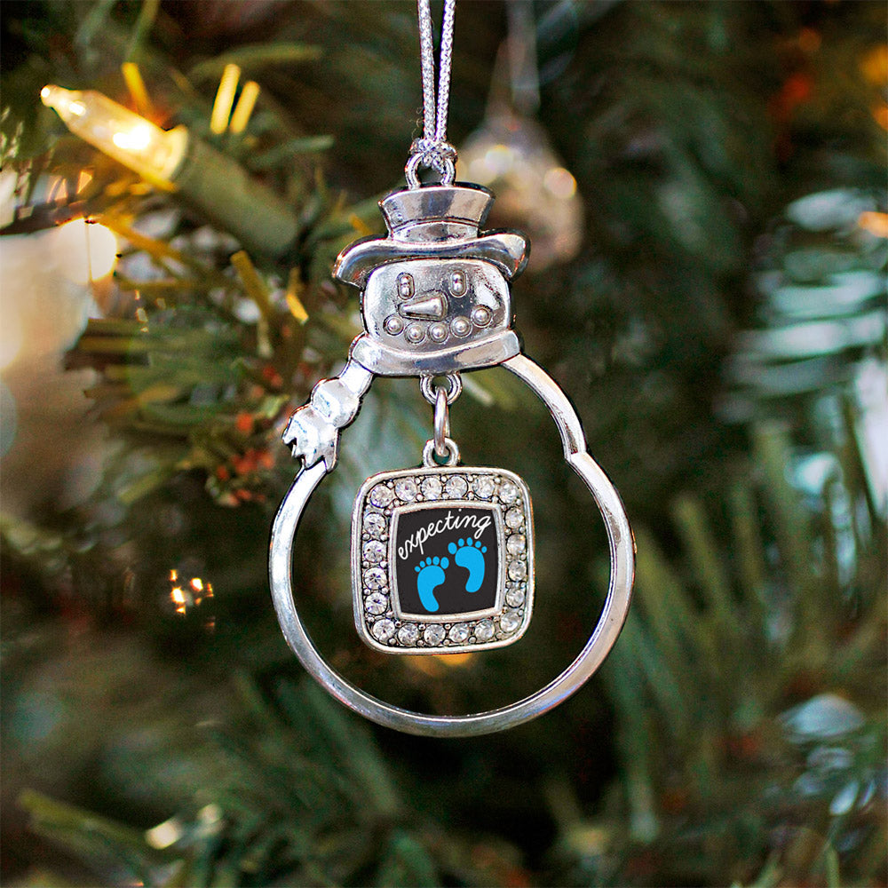 Expecting A Boy Footprints Square Charm Christmas / Holiday Ornament