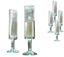Kalalou 6 Pc Set of Recycled Glass Champagne Flutes