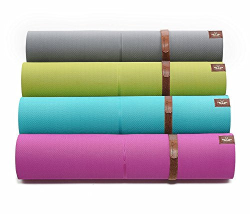 LIMITED TIME DEAL Heathyoga Eco Friendly Non Slip Yoga Mat, Body Alignment System, SGS Certified TPE Material - Textured Non Slip Surface and Optimal Cushioning, 72