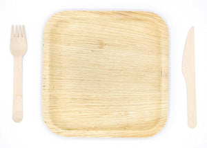 "Party Pack of 150 Eco-Friendly Dinnerware - 50 Disposable 8"" Square Palm Leaf Plates, 50 Wood Forks, 50 Wood Knives"