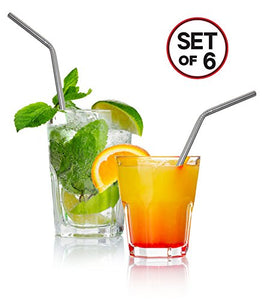 "Stainless Steel Drinking Straws - Fits Yeti, RTIC 30 oz. Tumbler - Strong Reusable Eco Friendly, Set of 6 with 2 Cleaning Brushes by Decodyne (10"")"