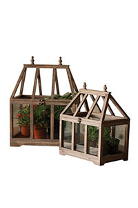 Kalalou Wood and Glass Terrarium, Set of 2