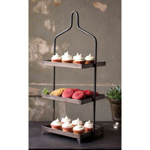 Kalalou Square Metal Three Tiered Display