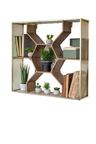 30 Inch Kalalou Honey Comb Shaped Wall Mounted Shelf with a Metal Mesh Frame in an Antique Brass Finish and Wood Shelves with Compartments