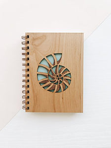 Nautilus Shell Laser Cut Wood Journal (Notebook / Birthday Gift / 5th Anniversary / Gratitude Journal / Handmade)