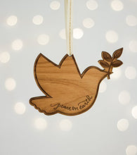 Peace on Earth Dove Shape Laser Cut Wood Ornament (Christmas / Holiday / Keepsake / Tradition)