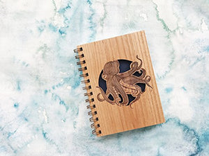 Octopus Laser Cut Wood Journal (Notebook / Birthday Gift / Gratitude Journal / Handmade)