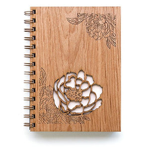 Peonies Laser Cut Wood Journal (Notebook / Birthday Gift / Gratitude Journal / Handmade)