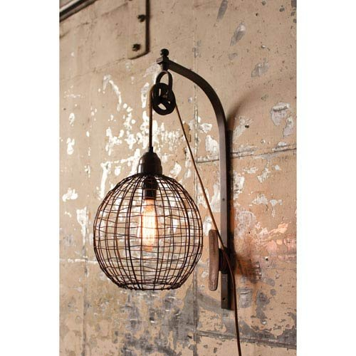 Kalalou Wire Sphere One-Light Wall Sconce With Pulley