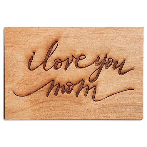 I Love You Mom Cursive Laser Cut Wood Mother's Day Card (Handlettered / Greeting Card / Personalized Available / Birthday Card / For Mom)
