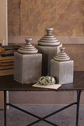 SET/3 GREY TEXTURED CERAMIC CANISTERS WITH PYRAMID TOPS