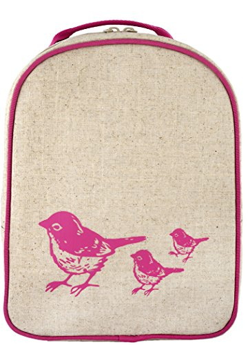 SoYoung Toddler Lunch Bag - Raw Linen, Eco-Friendly, Retro-Inspired, Leakproof, Easy to Clean - Pink Birds