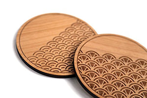 Scallop Traditional Laser Cut Wood Coasters (Set of 4 / Housewarming Gift / Tabletop / Barware)