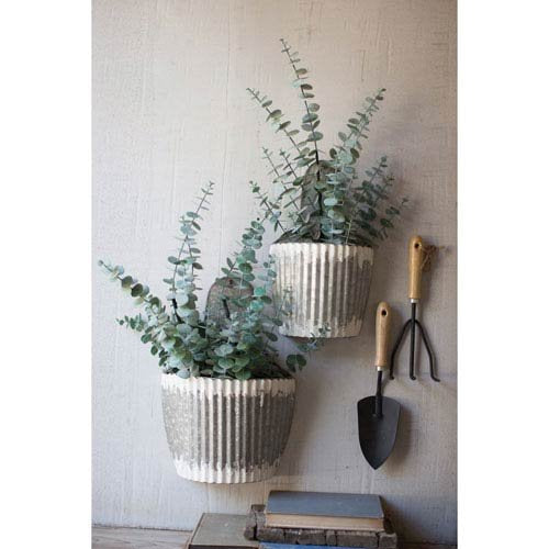 Kalalou Distressed Galvanized Wall Planters, Set of Two