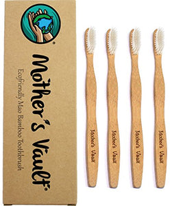 Mother's Vault Biodegradable, Eco-Friendly Bamboo Toothbrush w/ BPA-Free Soft Nylon Bristles – Natural Dental Care for Men & Women (4 Toothbrushes)