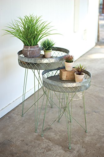 KALALOU CHE1164 SET/2 WIRE SIDE TABLES - GALVANIZED AND ANTIQUE GREEN -