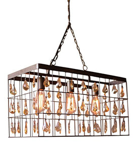 Kalalou Large Rectangle Pendant Light with 72 Amber Glass Gems